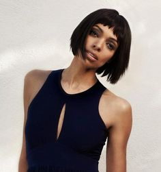 Tamara Taylor, Bob hairstyle for black women Black Women Short Hairstyles, Bob Hairstyles With Bangs, Popular Short Hairstyles, 2015 Hairstyles, Cool Hairstyles, Celebrity Hairstyles, Haircuts, Short Bangs, Short Hair Cuts