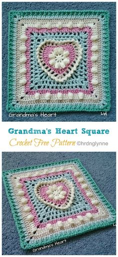 Heart Granny Square Crochet Free Patterns – Crochet & Knitting – Awesome Knitting Ideas and Newest Knitting Models Motifs Granny Square, Granny Square Pattern Free, Granny Square Häkelanleitung, Crochet Motifs, Granny Square Crochet Pattern, Granny Squares, Point Granny Au Crochet, Crochet Squares Afghan, Crochet Blocks