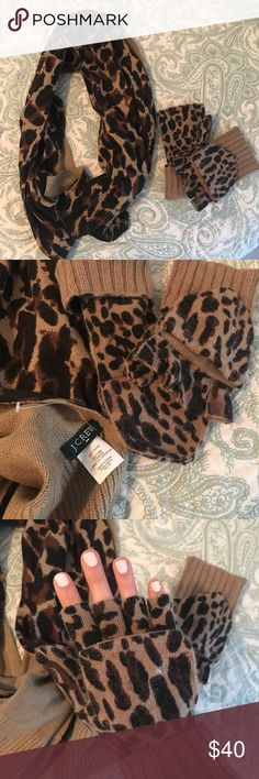 J. Crew Cheetah Scarf and Gloves Never worn!!! Super stylish J. Crew Accessories Scarves & Wraps
