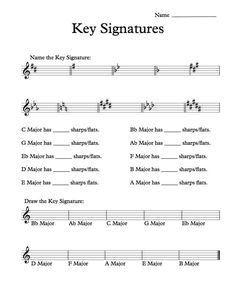 Here is a free pdf worksheet for Key Signatures. Makes a good homework assignment. Enjoy!