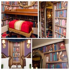 """It would be better if they were real books. What if they were all the classic and modern fairytales. and each shelf had a theme, and there would be disney themed chairs and of course the footstool from beauty and the beast and there would be a tea nook with """"Mrs. pots"""" and """"chip"""" i would spend days in there, but i guess there is a reason this board is """"Only in a dream"""""""