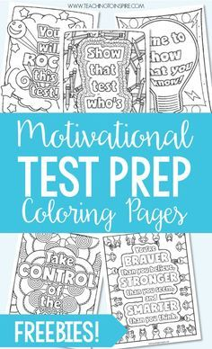 Test Prep Coloring Pages FREE testing motivational quotes coloring pages. Use these motivational quotes for testing to encourage your students before and during testing days. 4th Grade Classroom, 4th Grade Math, School Classroom, Third Grade, Classroom Ideas, Future Classroom, Classroom Helpers, Classroom Tools, Classroom Supplies