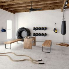 Home Gym Basement, Home Gym Garage, Diy Home Gym, Gym Room At Home, Home Gym Decor, Basement Workout Room, Basement Ideas, Crossfit Garage Gym, Basement Bars