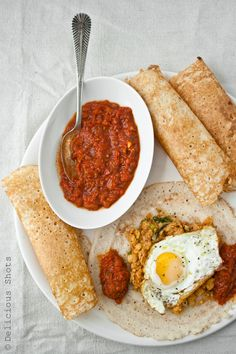 Dosa, Matbucha and Chickpeas
