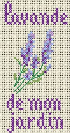 Lavender from my garden cross stitch Free Cross Stitch Charts, Cross Stitch Cards, Cross Stitch Flowers, Cross Stitching, Lavender Crafts, Lavender Bags, Lavander, Ribbon Embroidery, Cross Stitch Embroidery