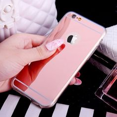 Luxury Mirror Flash Fashion Case For iPhone 7 6 6S Plus 5s 5 SE Soft Clear TPU Cover For iPhone 6 7 6S 5S Gold Phone Bags Cases