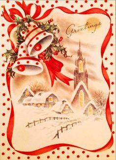 Christmas bells over rooftop scene (60's card)