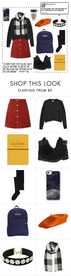"""""""Rly cute outfit"""" by alternativexpunkxwhatever ❤ liked on Polyvore featuring Monki, Topshop, Timberland, MANGO, Casetify, JanSport, Vanessa Mooney and OUTRAGE"""