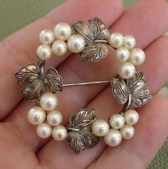 """EXQUISITE Mikimoto Akoya Pearls """"Grapes & Grape Leaves"""" Vintage Sterling Brooch, c. 1935 !"""