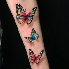 Realistic Butterfly Tattoo, Watercolor Butterfly Tattoo, Monarch Butterfly Tattoo, Colorful Butterfly Tattoo, Butterfly Wrist Tattoo, Butterfly Tattoos For Women, Wrist Tattoos For Women, Butterfly Tattoo Designs, Tattoos For Women Small