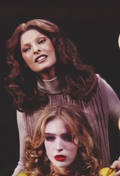 "eyes of linda v spring 2008 ph: sebastian faena models: linda evangelista & raquel zimmermann """