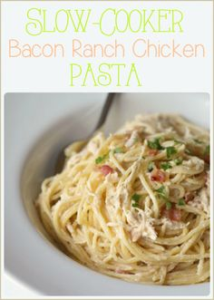 Slow Cooker Creamy Bacon Ranch Chicken **** kids liked. A little salty. Use 16 oz pkg of spaghetti (too much sauce to noodle ratio)
