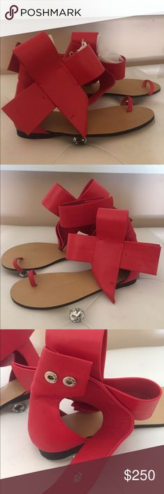 Celine s 38 authentic Red leather flat sandals Authentic rare sold out all Real leather true Red flat new / protective film is still attached/ sandals / shoes / Shoes Flats & Loafers