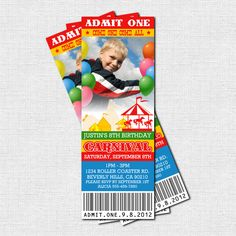 carnival birthday party invitations