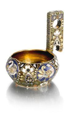 Fabergé silver-gilt and cloisonné enamel kovsh, workmaster Feodor Rückert, Moscow, 1908-1917