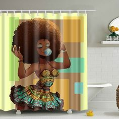 Messagee Custom Waterproof Bathroom African Woman Shower Curtain Polyester Fabric Shower Curtain Size 72 X 72 ** Learn more by visiting the image link. Note:It is Affiliate Link to Amazon. Floral Shower Curtains, Shower Curtain Sizes, Vinyl Shower Curtains, Bathroom Accessories Sets, Bathroom Sets, Bathroom Colors, African Shower Curtain, Bath Decor, Bedroom Decor