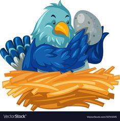 Blue bird hatching egg in nest vector image on VectorStock Blue Bird, Adobe Illustrator, Worksheets, Vector Free, Nest, Eggs, Pdf, Disney Characters, Illustration