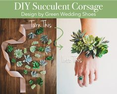 Beautiful wrist corsage made with faux succulents and ribbon from afloral.com. Perfect for bridesmaids! #diywedding Design by Green Wedding Shoes