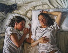 """Twitter / Heather_Horton: """"Self With Shadow"""", oil. Fascinating artistic portrayal of the reality of the Shadow, as a part of the human psyche.  I note with great interest the presence of the cat."""