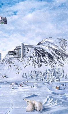 480x800 Wallpaper planet, world, winter, snow, city, science fiction, future