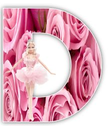 Alfabeto de Barbie Balletista en fondo de rosas. | Oh my Alfabetos!