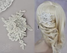 Vintage Bridal Hair Comb, Wedding Headpiece with Beaded Lace Pearls in Ivory