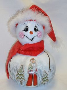 Snowman Gourd with Santa Winter Scene  Hand by FromGramsHouse