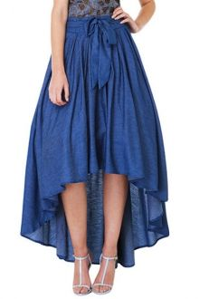 High-Waisted Bowknot High Low Skirt