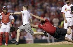 This St. Louis Cardinals fan was trespassing in style.