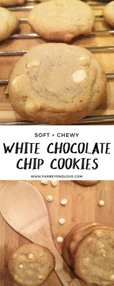 These soft and chewy white chocolate chip cookies are a family favorite. The recipe bakes up about two dozen cookies but they don't last long!