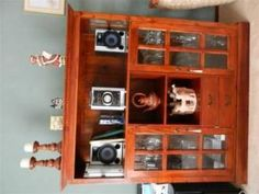 Large 166x156x46 Indonesian Teak & glass Cabinet - excellent condition.
