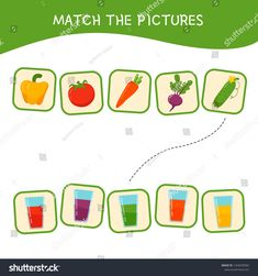 Match parts of cartoon vegetables and glasses with juice. Activity for pre shool years kids and toddlers. New Match 3 Games, Matching Games, Vegetable Cartoon, Cartoon Vegetables, Matching Worksheets, Worksheets For Kids, Learning Cards, Kids Learning, New Puzzle