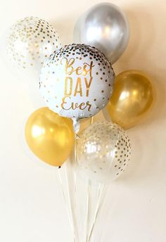 Best Day Ever Balloon Mix Gold Silver Confetti Latex Gold & Glitter Party Decorations, Skeleton Decorations, Engagement Party Decorations, Balloon Decorations, Glitter Balloons, Glitter Confetti, Latex Balloons, Foil Balloons, Glitter Keys