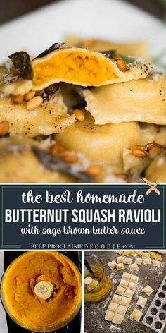 Homemade Butternut Squash Ravioli with Brown Butter Sage Sauce, made with pasta dough from scratch and roasted garlic and butternut, tastes like heaven. #ravioli #butternut #homemade #pasta #sauce #brownbutter #sage #roasted #filling #fall #recipe