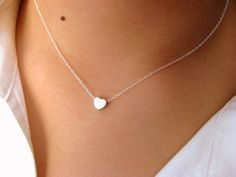 Little Dainty Sterling Silver Necklace withTiny Heart matt rhodium plated - pendant necklace - heart necklace - minimalist