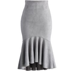 Chicwish Sassy Suede Frill Hem Skirt in Grey ($42) ❤ liked on Polyvore featuring skirts, bottoms, grey, ruffle hem skirt, flounce hem skirt, suede skirt, gray skirt and peplum skirt