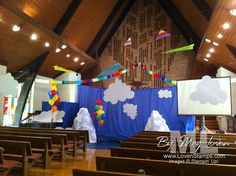 vbs-group-sky-theme-decorat Samuel Bible Story, Seasons Activities, Holiday Club, Away We Go, Vbs 2016, Weather And Climate, Vacation Bible School, Anything Is Possible, Travel