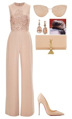 """Soft colors"" by amoney-1 ❤ liked on Polyvore featuring Elie Saab, Christian Louboutin, LE VIAN, Yves Saint Laurent and Cutler and Gross"