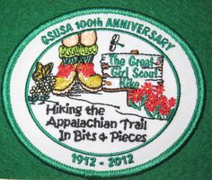 Girl Scouts Virginia Skyline 100th Anniversary patch. Hiking the Appalachian Trail in Bits & Pieces, 1912-2012. Boot