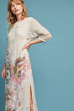 Sequined Floral Column Dress