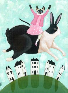 Spring Rabbit and Siamese Cat Original Folk Art