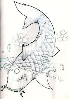 "Koi fish are the domesticated variety of common carp. Actually, the word ""koi"" comes from the Japanese word that means ""carp"". Outdoor koi ponds are relaxing. Koi Fish Drawing, Koi Fish Tattoo, Fish Drawings, Tattoo Drawings, Pencil Drawings, Carp Tattoo, Koi Tattoo Design, Tattoo Designs, Koi Art"