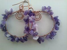 Amethyst hoop earrings,HAMMERED Copper Earrings,wire wrap handwork earrings,purple stone earrings, artisan dangle earrings by magyartist by magyartist on Etsy