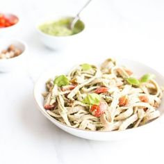 Chickpea & Spelt Fresh Pasta with Homemade Pesto Sauce