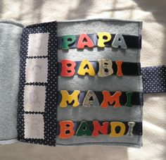 the family members in Babi's quiet book. Mami is me:) Books, Diy, Libros, Bricolage, Book, Do It Yourself, Book Illustrations, Homemade, Diys
