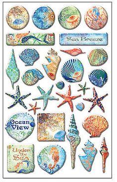 OCEANA 3-D EPOXY STICKERS (30) PCS scrapbooking SEASHELLS SEAHORSE SANDOLLAR