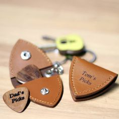 Personalised Leather Rock Guitar Pick Holder