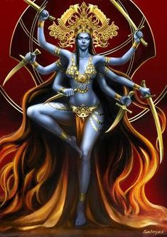 Kali Goddess by lunarmimi on DeviantArt Kali Goddess, Indian Goddess, Goddess Art, Kali Tattoo, Orishas Yoruba, Mother Kali, Kali Mata, Lord Shiva Painting, Geniale Tattoos