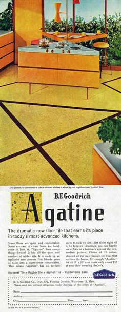 Interesting mid-century modern kitchen design with triangle-shaped islands. Agatine floor tile by B. F. Goodrich, 1956