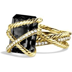 David Yurman Cable Wrap Ring with Black Onyx